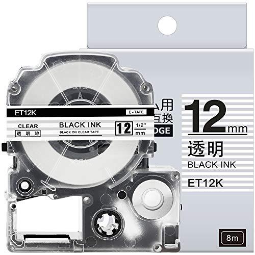 1個 12mm 透明地黒文字 互換 キングジム テプラ テープカートリッジ テプラPRO Kingjim tepra ST12K 8M ASprinte