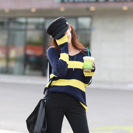 ピピンにミエル・ストライプブイネク・ニット104435 ニット/セーター/ニット/韓国ファッション