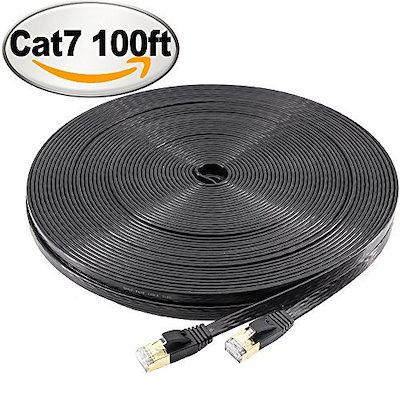 NCElecフラットSTP Cat7イーサネットケーブル(壁面、屋外用)(100フィート、ブラック)