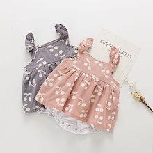 2019年夏の赤ん坊のジャンプスーツ、新生児の服、甘いチェリーの印刷物の女の子のジャンプスーツ、ベビー服