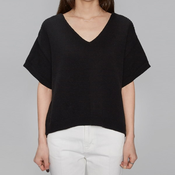 V-neck drop shoulder 1/2 knit (4 colors)