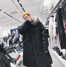 ♥限定発売♥高品質で♥韓国ファッション メンズ 大きな毛皮の襟 フードつき ジャケット  長袖 綿 コート防風 秋冬