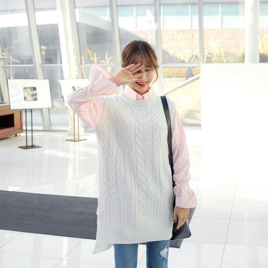 クルリクエンミのジェーン・ロング・ベスト ニット/セーター/ニット/韓国ファッション