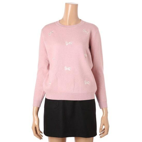 イプねリボン刺繍ニートDH9WKT68 ニット/セーター/パターンニット/韓国ファッション