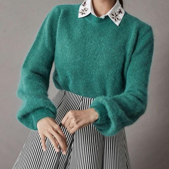 ブルランチョアンゴラニットkn01755 ニット/セーター/ニット/韓国ファッション