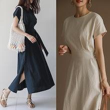 魅力満点リネンワンピース♥ キャップデザインの袖のラインが二の腕をカバー♪ ウエスト紐でいろんな演出できる / ゆったりとしたフィット感で楽な着心地を提供! 女性度UPできるワンピース