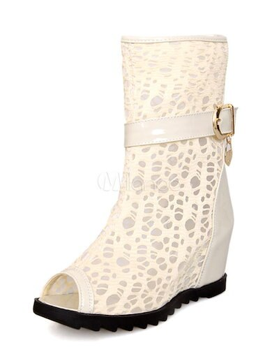 Beige Boots Peep Toe Cut-Out PU Booties for Women
