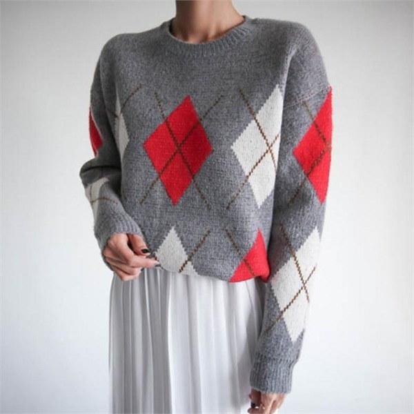174プラシーボアーガイル・ニットnew 女性ニット/ Vネックニット/韓国ファッション