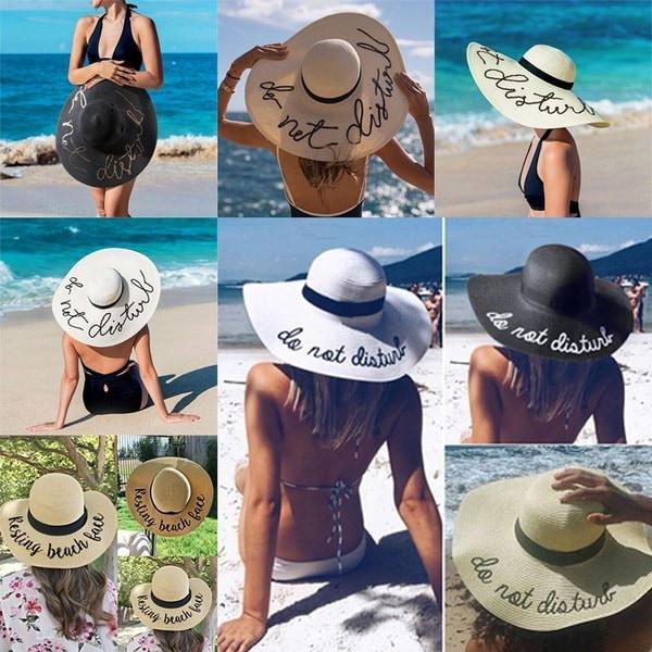 ファッション休憩ビーチレタープリント麦わら帽子ビーチSunhat広い縁取りヘッドウェアアクセサリー