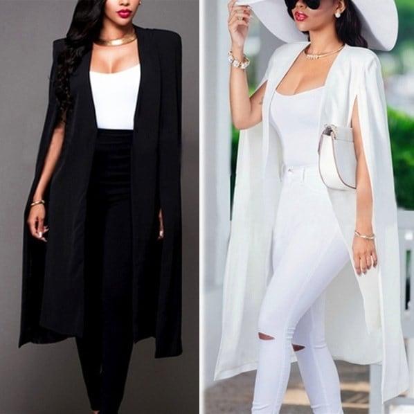 女性ファッションカーディガンケープブレザープラスサイズルーズロングクロッキージャケットトレンチコートアウターブリーザー(