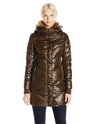 French Connection Womens Down Coat with Faux Fur Collar, Turtle, Large