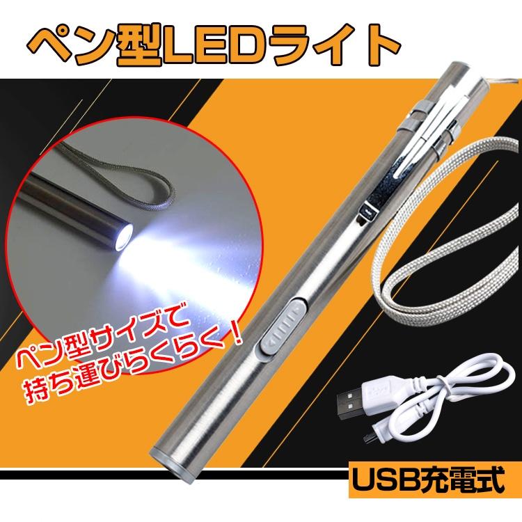 ペン型 LED ライト コンパクト ステンレス 明るい USB 充電 懐中電灯 作業灯 警告灯 クリップ ストラップ ad231