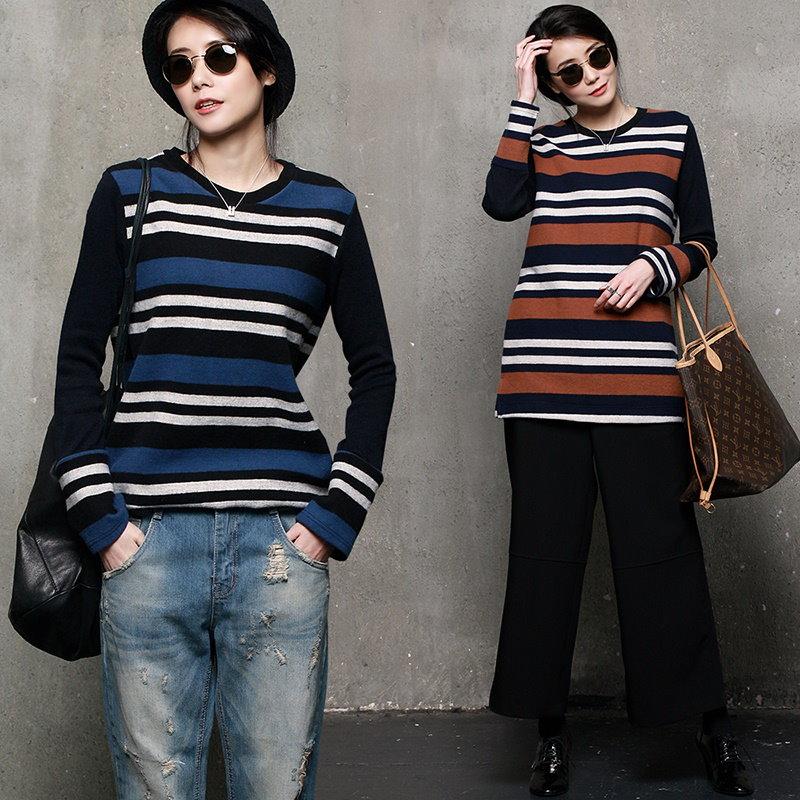 A293 ストライプラウンドネックニット/ Tシャツ/ニットブラウス/配色ニット/デイリールック/韓国ファッション