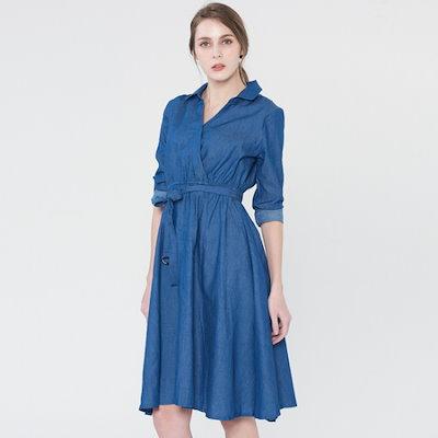 渓谷をシャツスタイルのデニムワンピース804360 面ワンピース/ 韓国ファッション