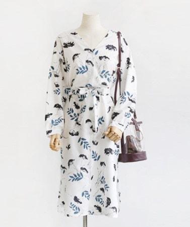 清純なリーフパターンストラップ長袖ロングワンピース30433デイリールックkorea women fashion style