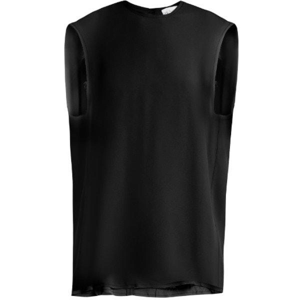レイ Raey レディース トップス カジュアルシャツ【Raw-edge sleeveless crepe top】Black