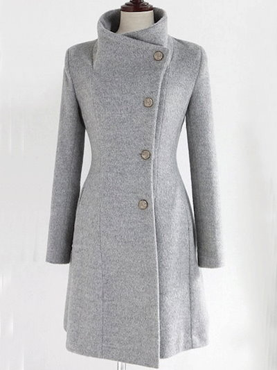 スタンドネック 無地 厚くて ベルト付き 着回し ラシャ キレイめ 長袖 コート