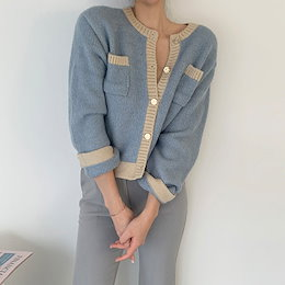 ✨DRESSCAFE✨[韓国ファッション] ♥ Limited item!♥  (6color) 襟章配色カーディガン