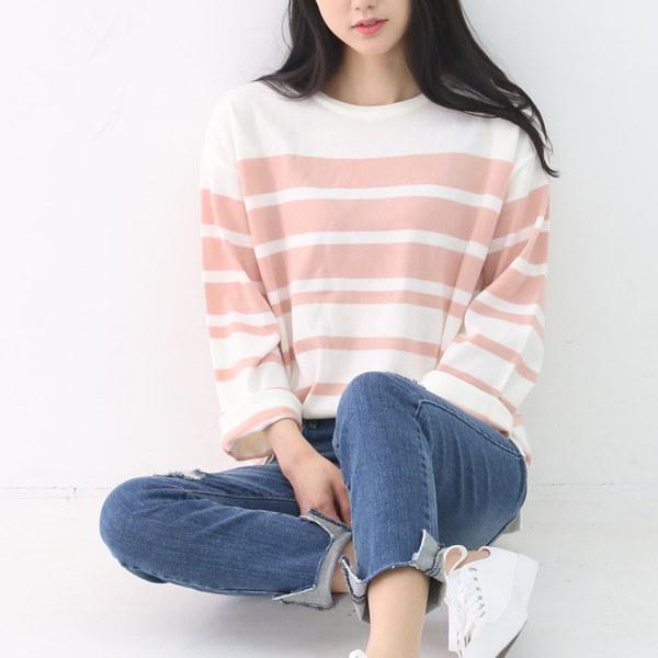 韓国ファッション/ストライプニットひらきセーター/デイリーファッション/体型カバー