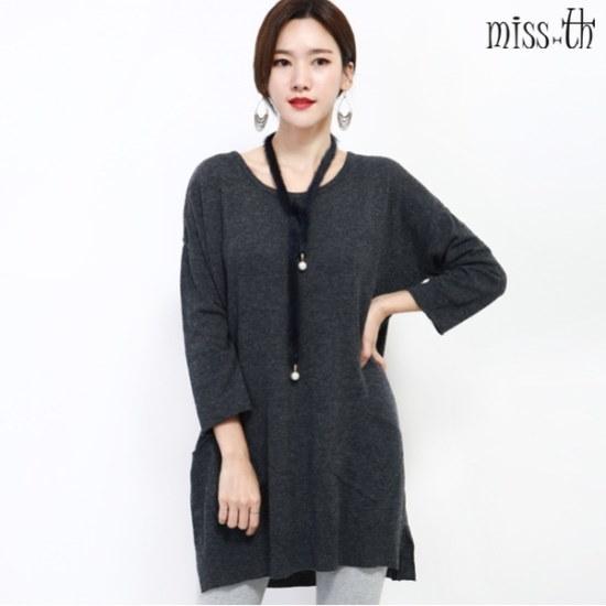 ミスティーに一の後のボタンロング・ニット ロングニット/ルーズフィット/セーター/韓国ファッション