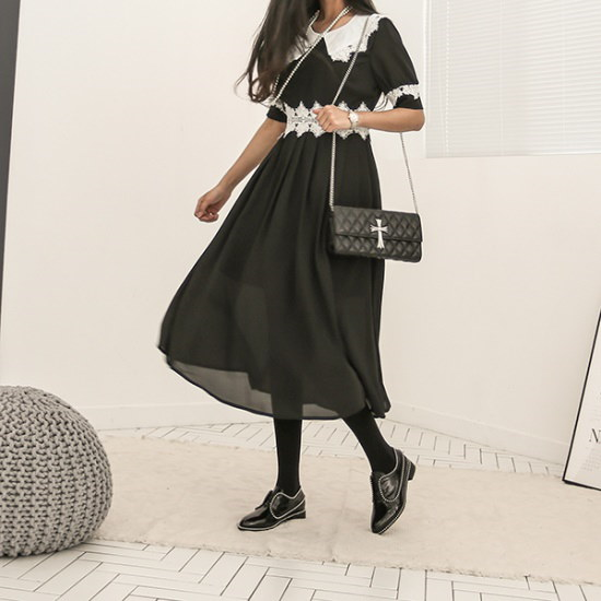 ブルランチョロマンチックシンプルブラックワンピースop01977 綿ワンピース/ 韓国ファッション