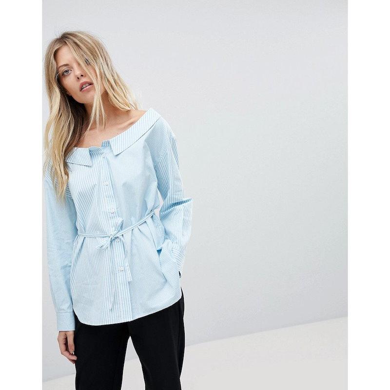 フレンチコネクション レディース トップス ブラウス・シャツ【French Connection Off-Shoulder Stripe Shirt】Blue