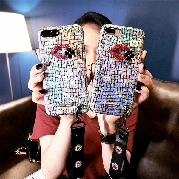 iPhone7/7Plus/6Plus/6SPlus/6/6Sミラーケース/唇/ストラップ付き/PU背面カバー/キラキラ/保護カバー/スマートフォンカバー/ファッションな携帯ケース【G302G296