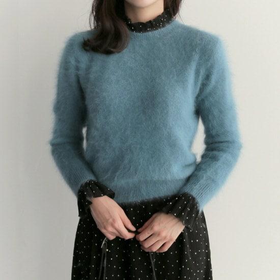 アップタウンホリックキャンディーアンゴラknit3color冬の身元アンゴラニットラウンドネックニット ニット/セーター/ニット/韓国ファッション