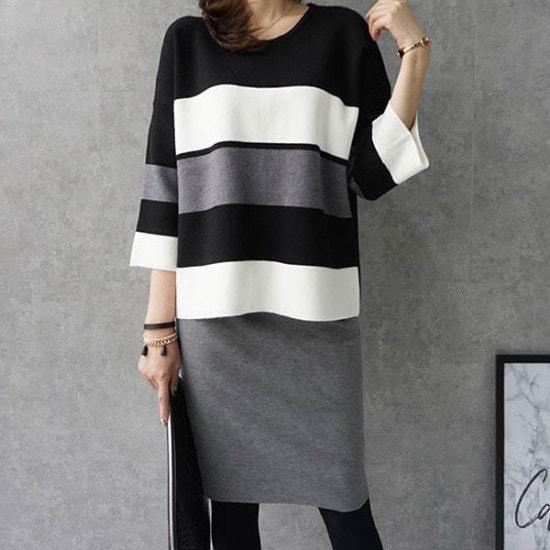 モニカルーム配色ニット ニット/セーター/ニット/韓国ファッション