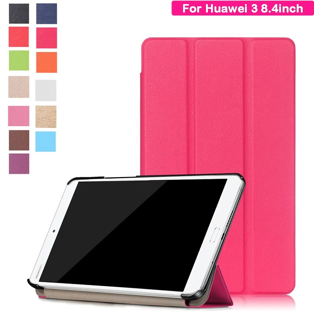 HUAWEI MediaPad M3 8.4型dtab Compact d-01J/8.4インチ用タブレット手帳型レザーケース/3つ折り/スタンドカバー/13色/上質/横開き/軽量/薄型【F218】