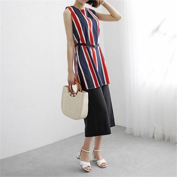 hlr07ピアリーブラウスワイド・パンツセット・ストライプnewsrcLangTypeko 女性ニット/カーディガン/韓国ファッション