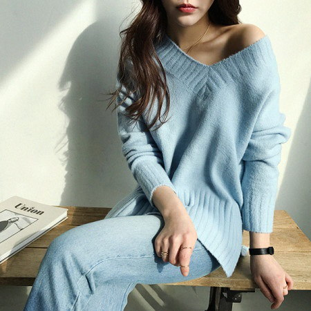 [naning9] United V-neck knit korea fashion style