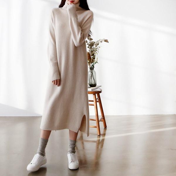 [送料無料]★5COLOR★WOOL首ポーラニットロングワンピース(WOOL60%)(ops850)/韓国ファッション/暖かい冬のワンピース/体型カバー/足まで温め