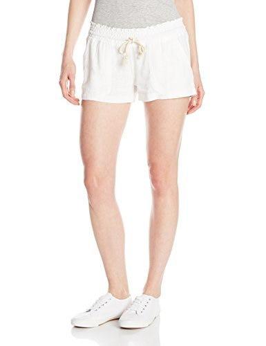 Roxy Juniors Oceanside Short Elastic Waist Non Denim Shorts, Sea Salt, Large