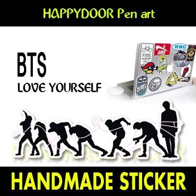 BTS-LOVE YOURSELFキャラクターイラスト WATERPROOF STICKER キャリアステッカー PEN ART 携帯キャリアステッカ-[happy door original]