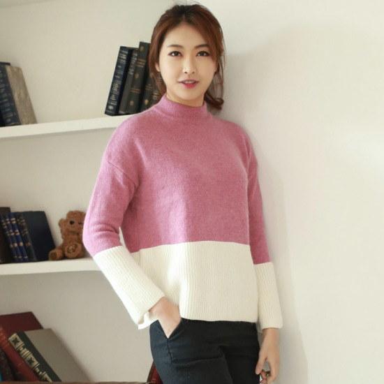 ウェンディジュギャラリーアンゴラ配色ニットHKN012 ニット/セーター/タートルネック/ポーラーニット/韓国ファッション