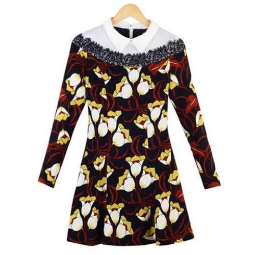 トレンディなスタイルフラットカラーフラワープリントスリムロングスリーブレディースドレス