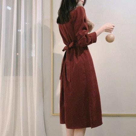 コーデュロイリボンラップロングワンピースKorean fashion style