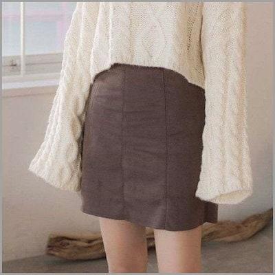 [クルロドゥマノン][クルロドゥマノン]トクトクピッスエード革のミニスカート /スカート/Hライン・スカート/ 韓国ファッション