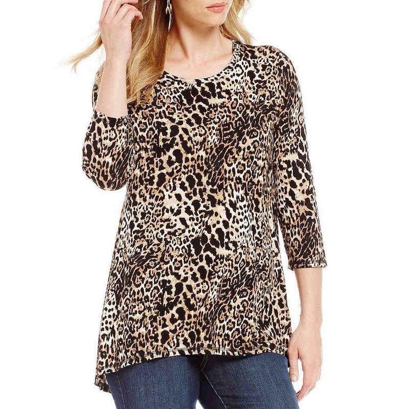 ボボウ レディース トップス【Bobeau Animal Print 3/4 Sleeve Pleat Back Knit Top】Black/Taupe