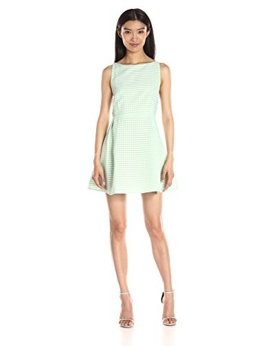Lucca Couture Womens Striped Organza Fit and Flare Dress, Mint, Small