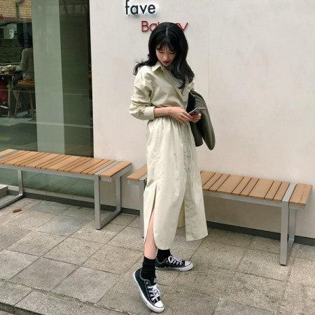 【Imvely]モーニングミントロングシャツワンピースkorean fashion style