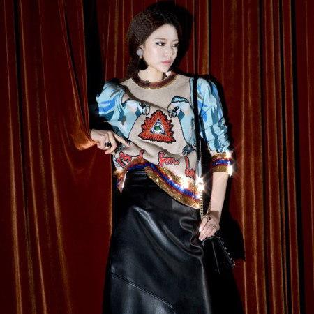 [ディントゥ] E-4248ベルコス配色スパンコールニットトップkorea fashion style