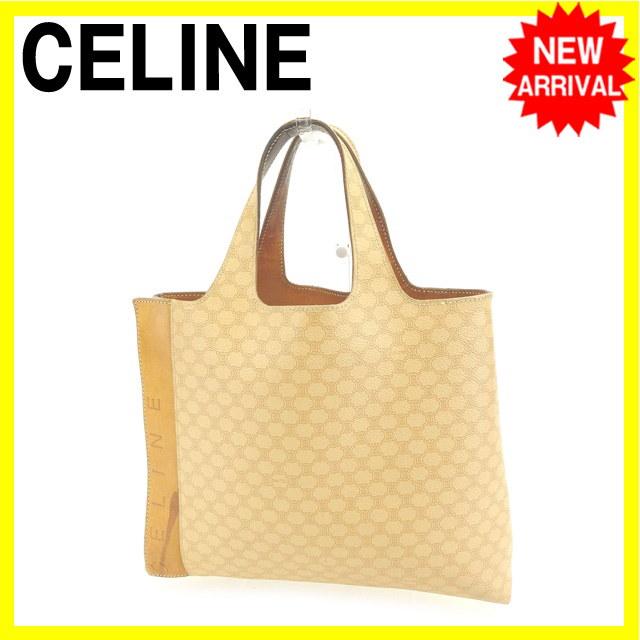 セリーヌ Celine ハンドバッグ トートバッグ レディース ベージュ系 PVC×レザー (あす楽対応)【中古】 Y4040 .