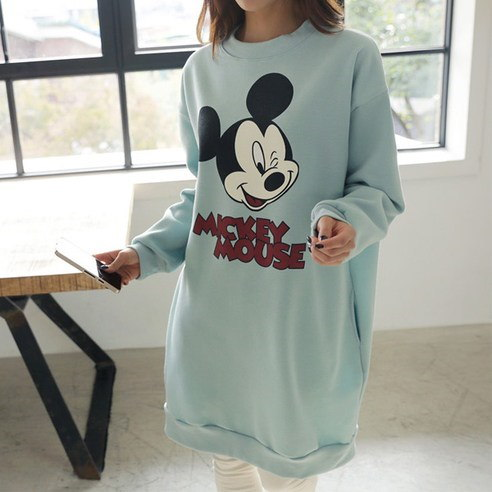 [ClicknFunny] Wink Mickey brushed dress Korean fashion style