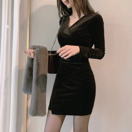 Special Velvet Shearing New Year Party Dresses Korean fashion style