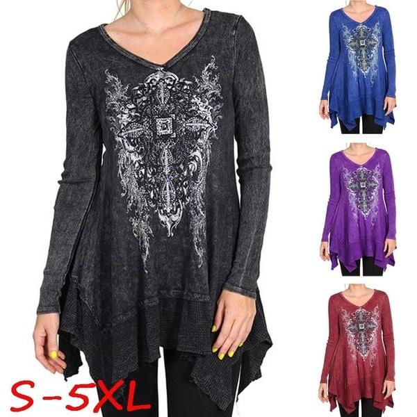 新しい女性のファッションVネックフィリグリー長袖プリント不規則な裾のチュニックトップシャツプラスサイズS  -  5XL