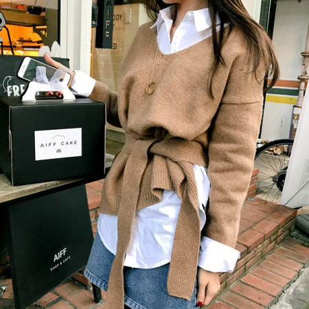 【Imvely]リボンシックオンバルニットkorean fashion style