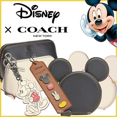 芸能人愛用多数♥ Disney×COACH コラボ商品! ミッキー コインケース ポーチ 数量限定 正規品 F59071 F59820 アウトレット買い付け