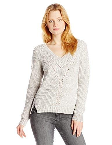 Buffalo David Bitton Womens Bellin Two Color Tape Yarn Sweater, Platinum/White Marl, Medium